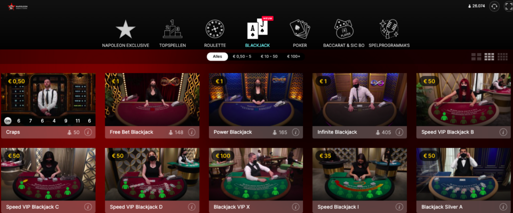 Live blackjack Napoleon Games