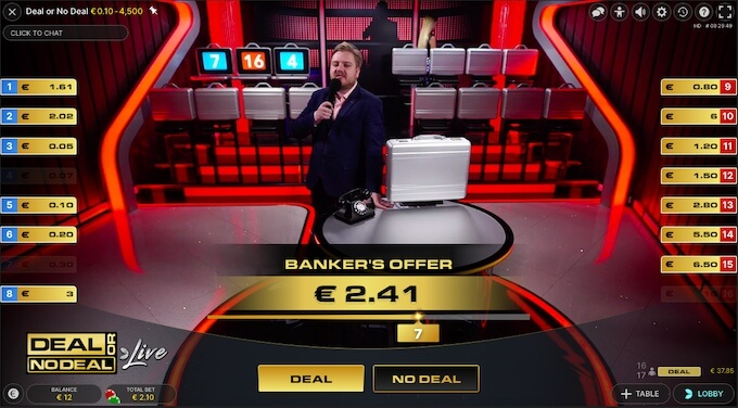 Kofferspel Deal or No Deal Live