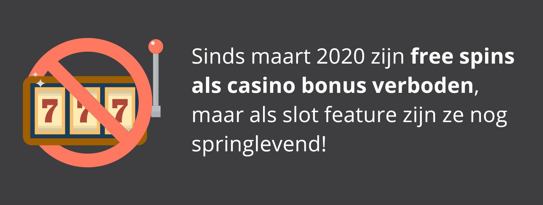 Free spins bonus verboden in België