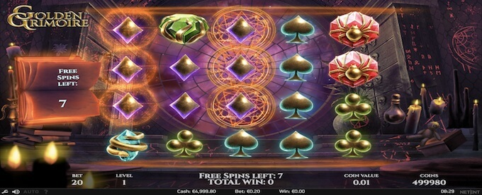Golden Grimoire slot free spins