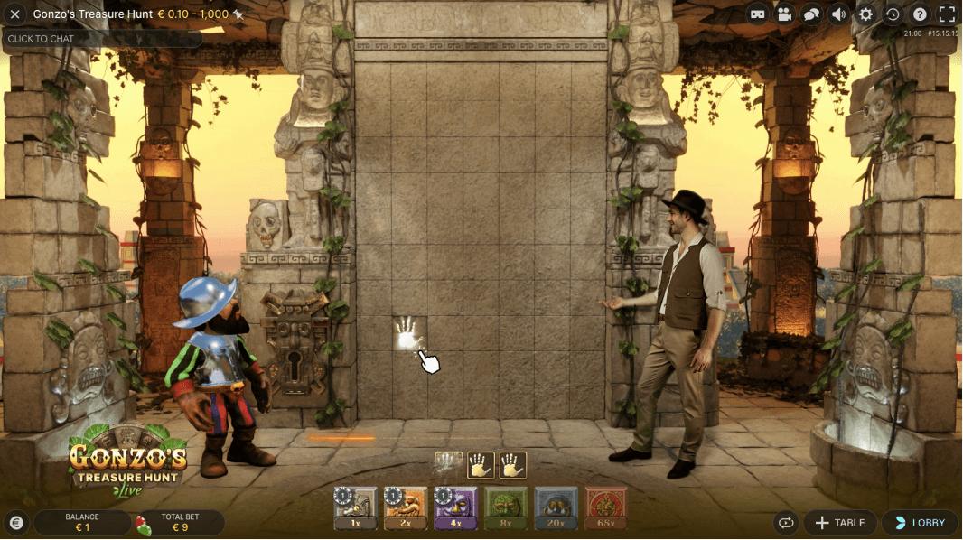 Kies welke blokken je wilt omdraaien in Gonzo's Treasure Hunt