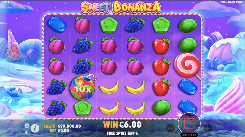 Sweet Bonanza: free spins feature