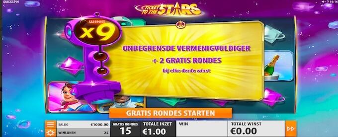 Ticket To The Stars gokkast gratis spins
