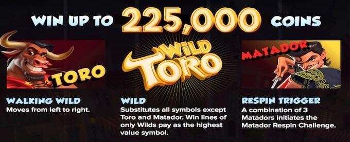 Wild Toro slot bonus features